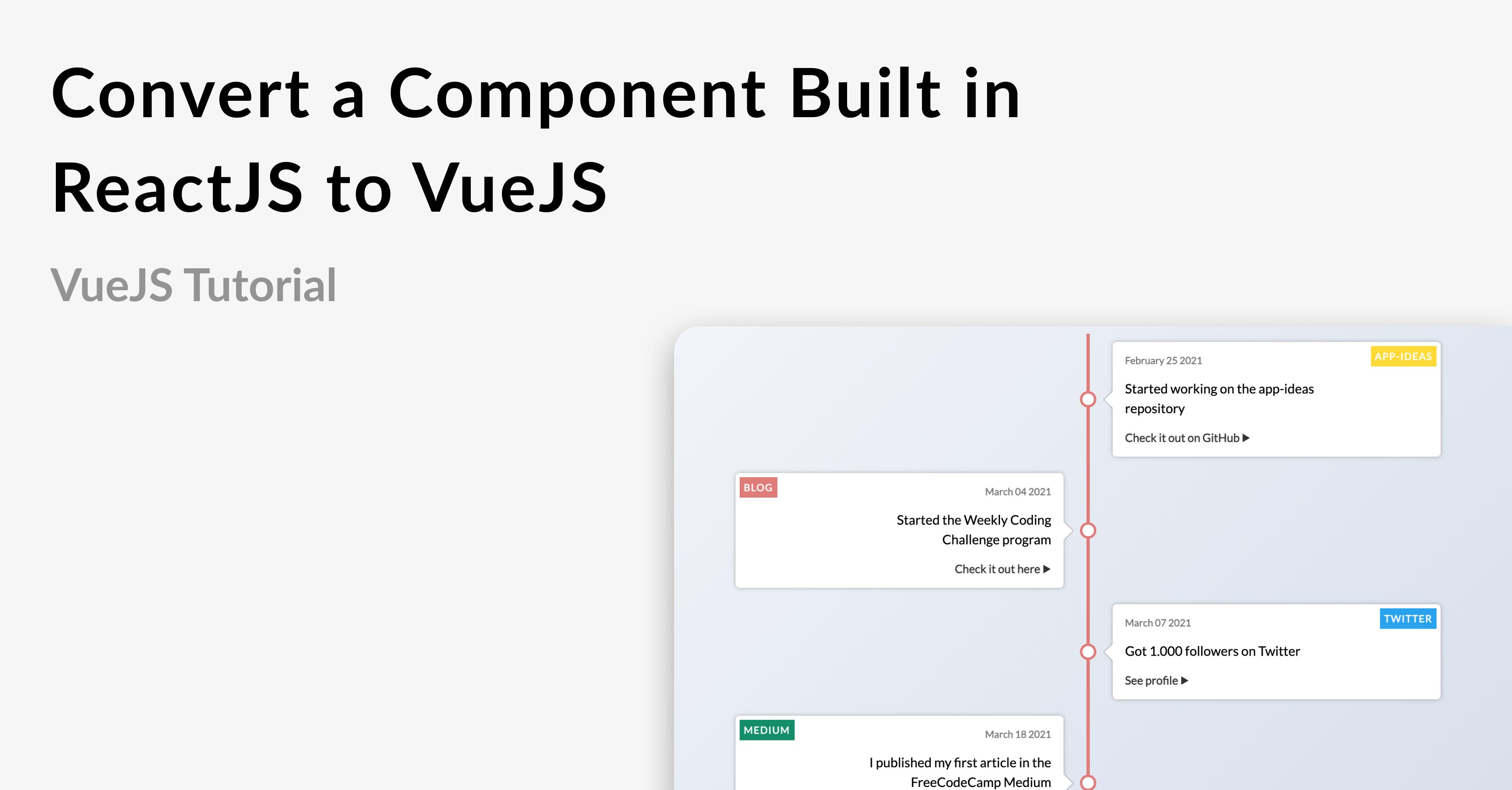 Meta image stating Convert a Component Built in ReactJS to VueJS alongside Timeline component