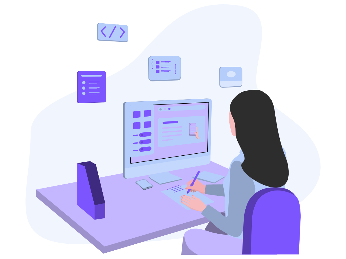 Illustration of a woman sitting at her computer while writing