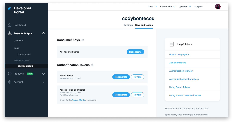 Screenshot of the Twitter Developer Dashboard